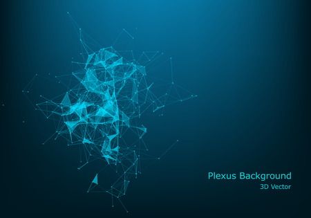 Abstract polygonal space low poly dark background with connecting dots and lines. Connection structure. Vector science background. Polygonal vector background. Futuristic HUD background .Big data concept.