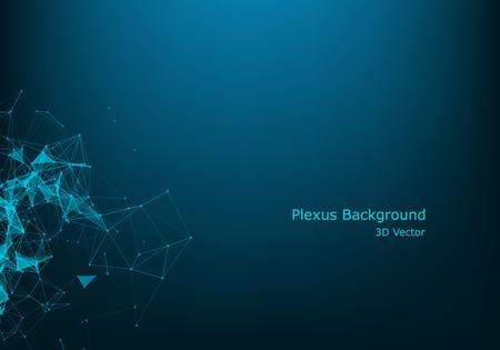 Vector paisaje digital futurista abstracto con puntos de partículas y estrellas en el horizonte. Estructura de conexión digital geométrica de la computadora. Rejilla abstracta azul futurista. Inteligencia artificial.