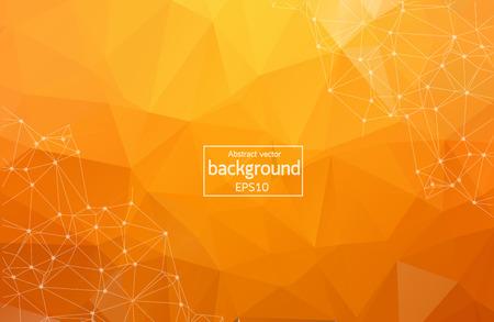 Bright orange low poly communication background. Vector tech design
