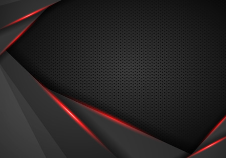 abstract black with red frame template layout design tech concept background - Vector  イラスト・ベクター素材