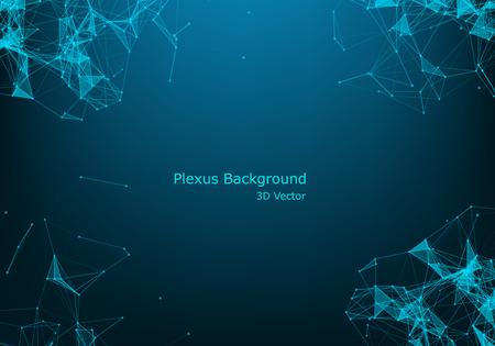 Particules et lignes vectorielles abstraites. Effet plexus. Illustration futuriste. Cyberstructure polygonale. Concept de connexion de données. Vecteurs