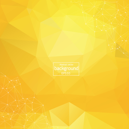 Abstract polygonal orange red low poly background with connecting dots and lines. Connection structure. Vector science background. Polygonal vector background. Futuristic HUD background. Illustration