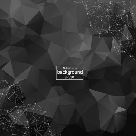 Geometric Black Polygonal background molecule and communication. Connected lines with dots. Minimalism chaotic illustration background. Concept of the science, chemistry, medicine, technology.