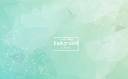 Luce verde geometrica Molecola di fondo poligonale e comunicazione. Linee collegate con punti. Fondo caotico dell'illustrazione di minimalismo. Concetto della scienza, chimica, medicina, tecnologia.
