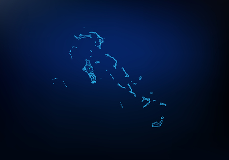Abstract of bahamas map network, internet and global connection concept, Wire Frame 3D mesh polygonal network line, design sphere, dot and structure. Vector illustration 矢量图像