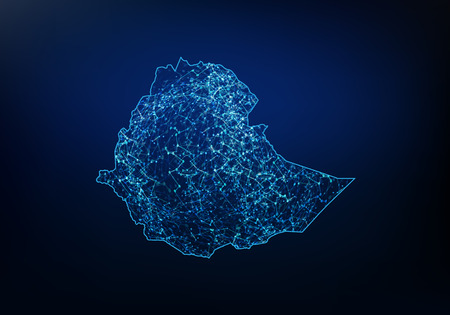 Abstract of ethiopia map network, internet and global connection concept, Wire Frame 3D mesh polygonal network line, design sphere, dot and structure. Vector illustration Vettoriali