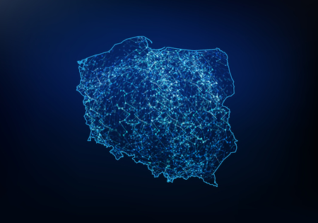 Streszczenie polskiej mapy sieci, Internetu i koncepcji globalnego połączenia, linii sieci wielokątnej siatki 3D, kuli projektowej, kropki i struktury. Ilustracja wektorowa eps 10.