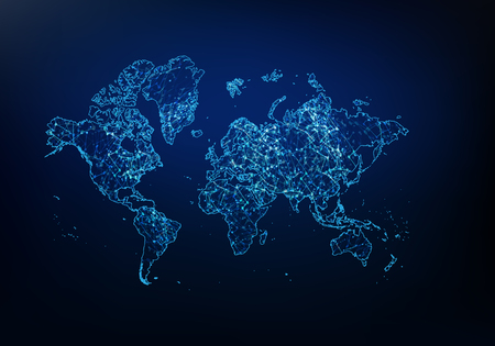 Estratto della rete della mappa del mondo, del concetto di connessione Internet e globale, della linea di rete poligonale mesh Wire Frame 3D, della sfera di design, del punto e della struttura Illustrazione vettoriale eps 10. Vettoriali