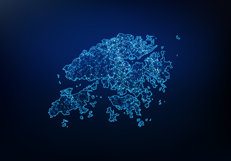 Riassunto della rete di mappe di Hong Kong, internet e concetto di connessione globale, linea di rete poligonale mesh 3D Wire Frame, sfera di design, punto e struttura. Illustrazione vettoriale eps 10.