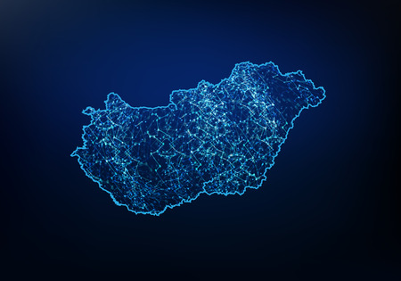 Abstract of hungary map network, internet and global connection concept, Wire Frame 3D mesh polygonal network line, design sphere, dot and structure. Vector illustration eps 10. 向量圖像