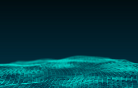 Water Surface. Wavy Grid Background. 3d Rendering.