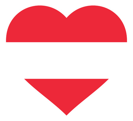 austria flag in heart vector illustration sign. Flag of austria in the shape of Heart with contrasting contour, symbol of love for his country or valentine day, patriotism.