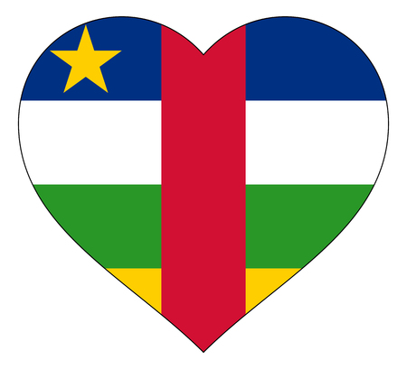 central african republic flag in heart vector illustration sign. Flag of central african republic in the shape of Heart with contrasting contour, symbol of love for his country or valentine day, patriotism.