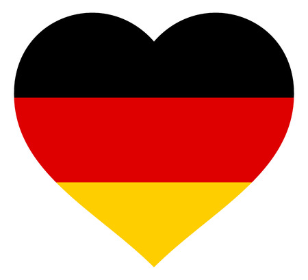 germany flag in heart vector illustration sign. Flag of germany in the shape of Heart with contrasting contour, symbol of love for his country or valentine day, patriotism.