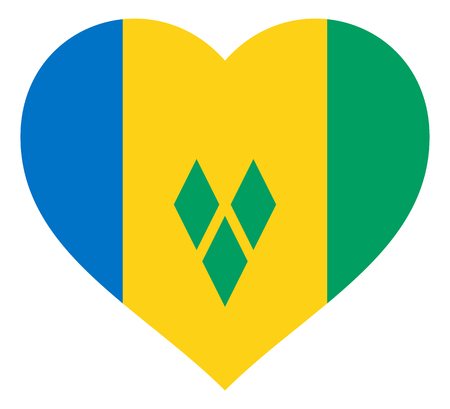 saint vincent and the grenadines flag in heart vector illustration sign. Flag of saint vincent and the grenadines in the shape of Heart with contrasting contour, symbol of love for his country or valentine day, patriotism.