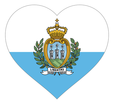 san marino flag in heart vector illustration sign. Flag of san marino in the shape of Heart with contrasting contour, symbol of love for his country or valentine day, patriotism. Ilustração