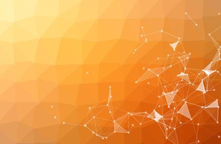 Abstract Orange Polygonal Space Background with Connecting Dots and Lines. Geometric Polygonal background molecule and communication. Concept of science, chemistry, biology, medicine, technology. Ilustración de vector