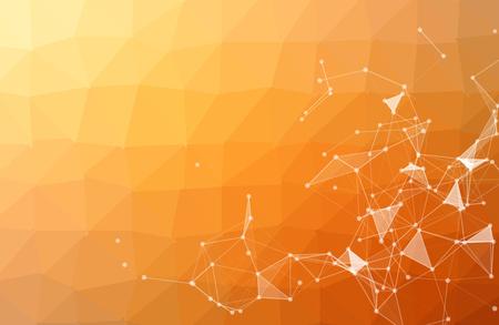 Streszczenie pomarańczowym tle wielokąta z łączenie kropek i linii. Geometryczna wielokątna cząsteczka tła i komunikacja. Pojęcie nauki, chemii, biologii, medycyny, technologii. Ilustracje wektorowe