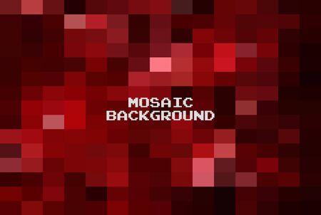 Fondo geométrico rojo oscuro abstracto, plantillas de diseño creativo. Mosaico de cuadrícula de pixel art, fondo de vector de 8 bits.
