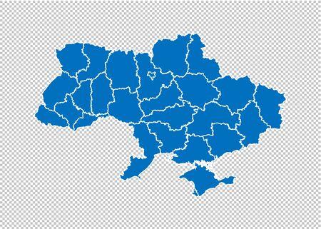 mapa de ucrania: mapa azul muy detallado con condados / regiones / estados de ucrania. Mapa de Ucrania aislado sobre fondo transparente.