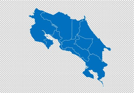 costa Rica map - High detailed blue map with counties/regions/states of costa Rica. costa Rica map isolated on transparent background.