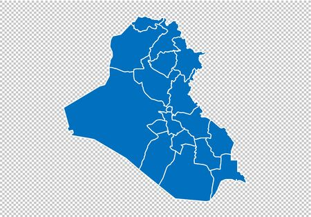 iraq map - High detailed blue map with countiesregionsstates of iraq. nepal map isolated on transparent background.