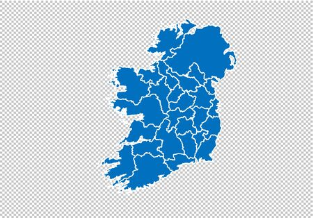 ireland map - High detailed blue map with countiesregionsstates of ireland. nepal map isolated on transparent background.
