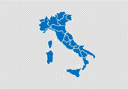 italy map - High detailed blue map with countiesregionsstates of italy. nepal map isolated on transparent background.
