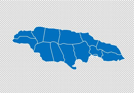 jamaica map - High detailed blue map with countiesregionsstates of jamaica. nepal map isolated on transparent background.