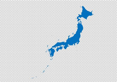 japan map - High detailed blue map with countiesregionsstates of japan. nepal map isolated on transparent background.