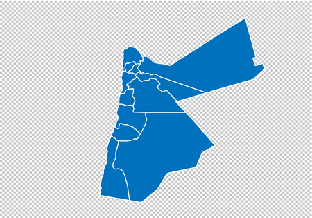 jordan map - High detailed blue map with countiesregionsstates of jordan. nepal map isolated on transparent background.