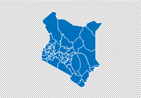 kenya map - High detailed blue map with countiesregionsstates of kenya. nepal map isolated on transparent background.