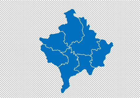 kosovo map - High detailed blue map with countiesregionsstates of kosovo. nepal map isolated on transparent background. Иллюстрация