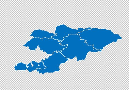 kyrgyzstan map - High detailed blue map with countiesregionsstates of kyrgyzstan. nepal map isolated on transparent background.