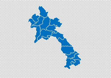 laos map - High detailed blue map with countiesregionsstates of laos. nepal map isolated on transparent background.