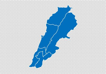 lebanon map - High detailed blue map with countiesregionsstates of lebanon. nepal map isolated on transparent background. Иллюстрация