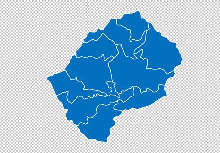 lesotho map - High detailed blue map with countiesregionsstates of lesotho. nepal map isolated on transparent background.