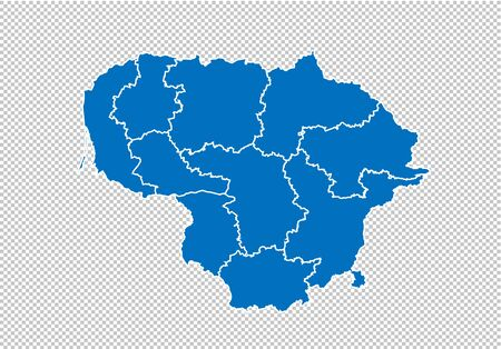 lithuania map - High detailed blue map with countiesregionsstates of lithuania. nepal map isolated on transparent background.