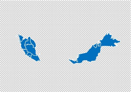 malaysia map - High detailed blue map with countiesregionsstates of malaysia. nepal map isolated on transparent background.