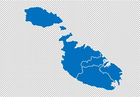 malta map - High detailed blue map with countiesregionsstates of malta. nepal map isolated on transparent background.