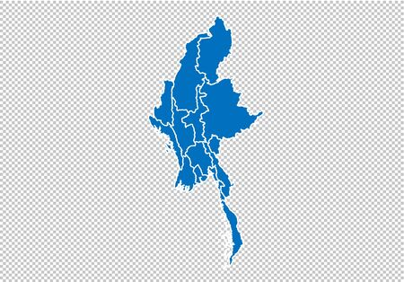 myanmar map - High detailed blue map with countiesregionsstates of myanmar. nepal map isolated on transparent background.