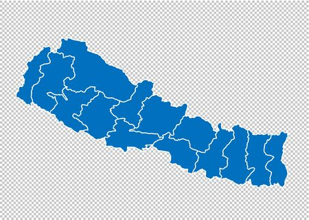nepal map - High detailed blue map with countiesregionsstates of nepal. nepal map isolated on transparent background.