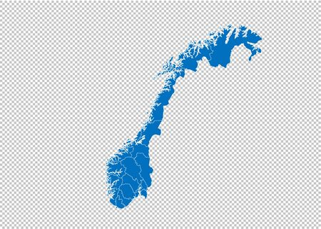 norway map - High detailed blue map with counties/regions/states of norway. norway map isolated on transparent background. 矢量图像