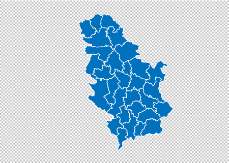 Serbia map - High detailed blue map with counties/regions/states of Serbia. Serbia map isolated on transparent background. Illustration