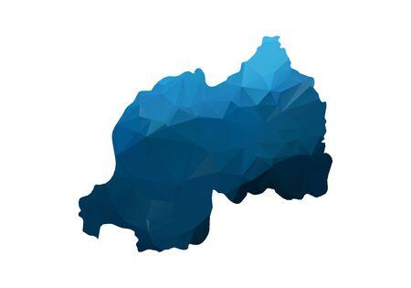Map of rwanda - Blue Geometric Rumpled Triangular. Low poly map of rwanda. contour/shape map isolated on white background. vector illustration. Illustration