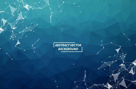 Molecola e comunicazione del fondo poligonale geometrico blu scuro. Linee collegate con punti. Sfondo di minimalismo. Concetto della scienza, chimica, biologia, medicina, tecnologia.