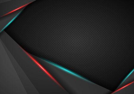 cornice rossa astratta con modello moderno di tecnologia sportiva modello foro struttura in acciaio. Disegno del modello grafico vettoriale. Sfondo di tecnologia con banner metallico. Vettoriali
