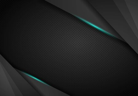abstract metallic black blue geometric frame sport design concept innovation background. Black Metal perforated background.