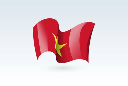 Vietnam waving flag vector icon, national symbol. Flag of Vietnam, fluttered in the wind - vector illustration isolated on white background.