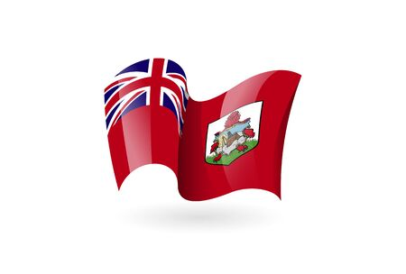 Bermuda waving flag vector icon, national symbol. Flag of Bermuda, fluttered in the wind - vector illustration isolated on white background.